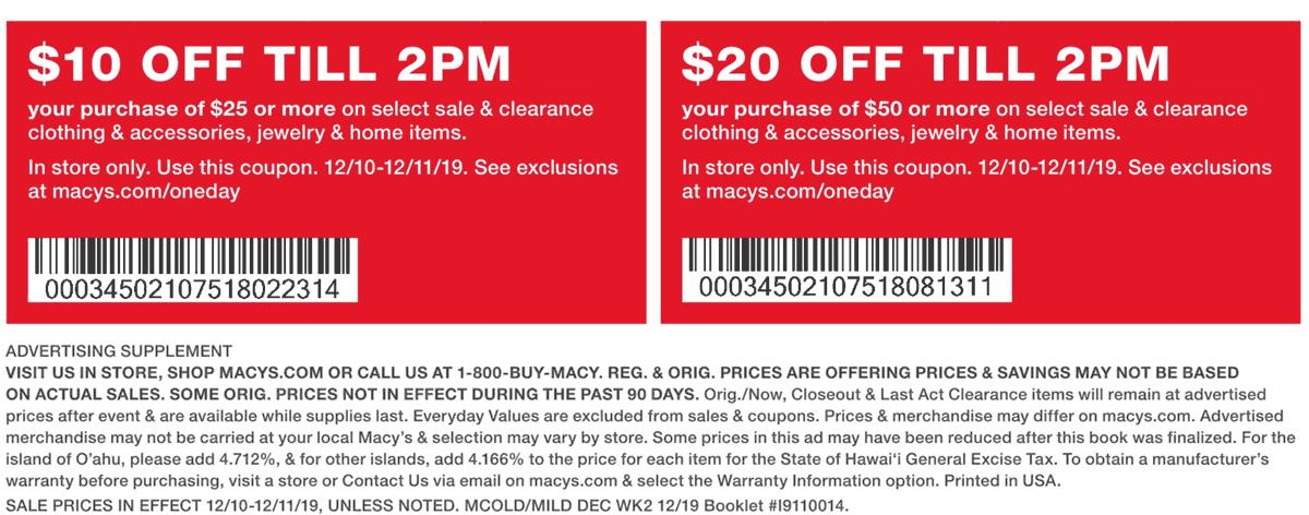 Macys Coupon January 2020 $10 off $25 & more at Macys
