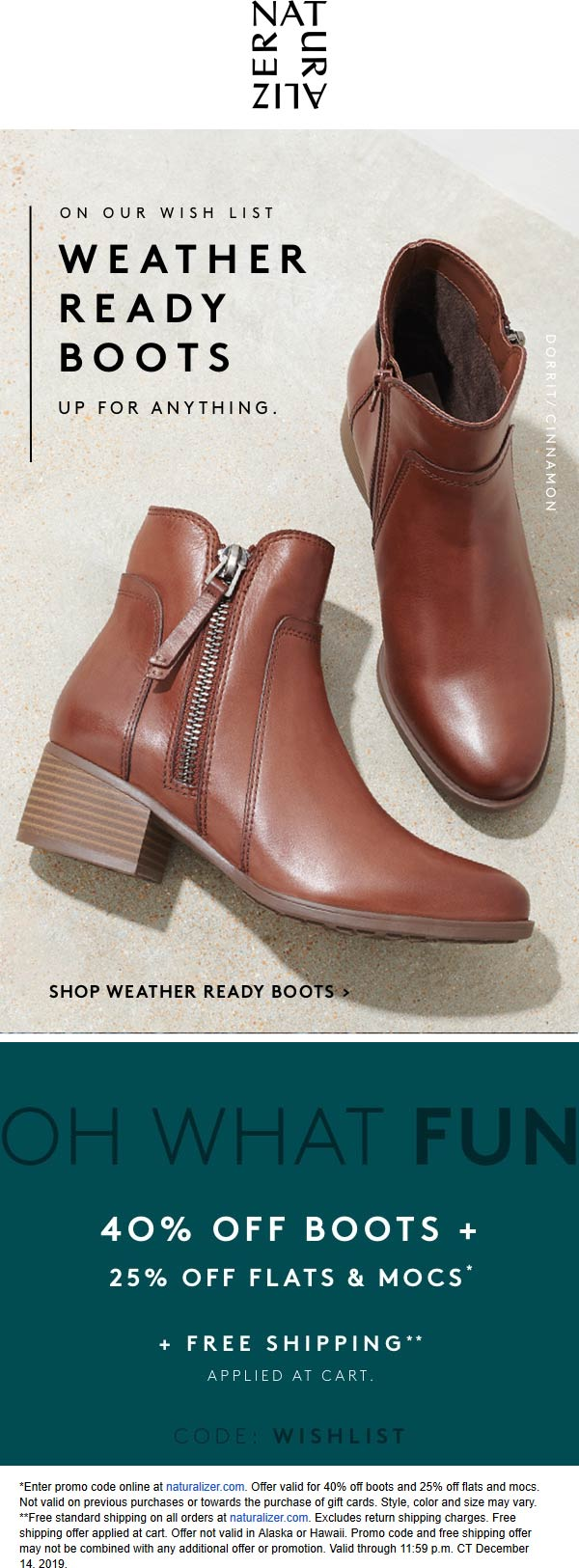 Naturalizer Coupon January 2020 40% off boots & more at Naturalizer via promo coe WISHLIST