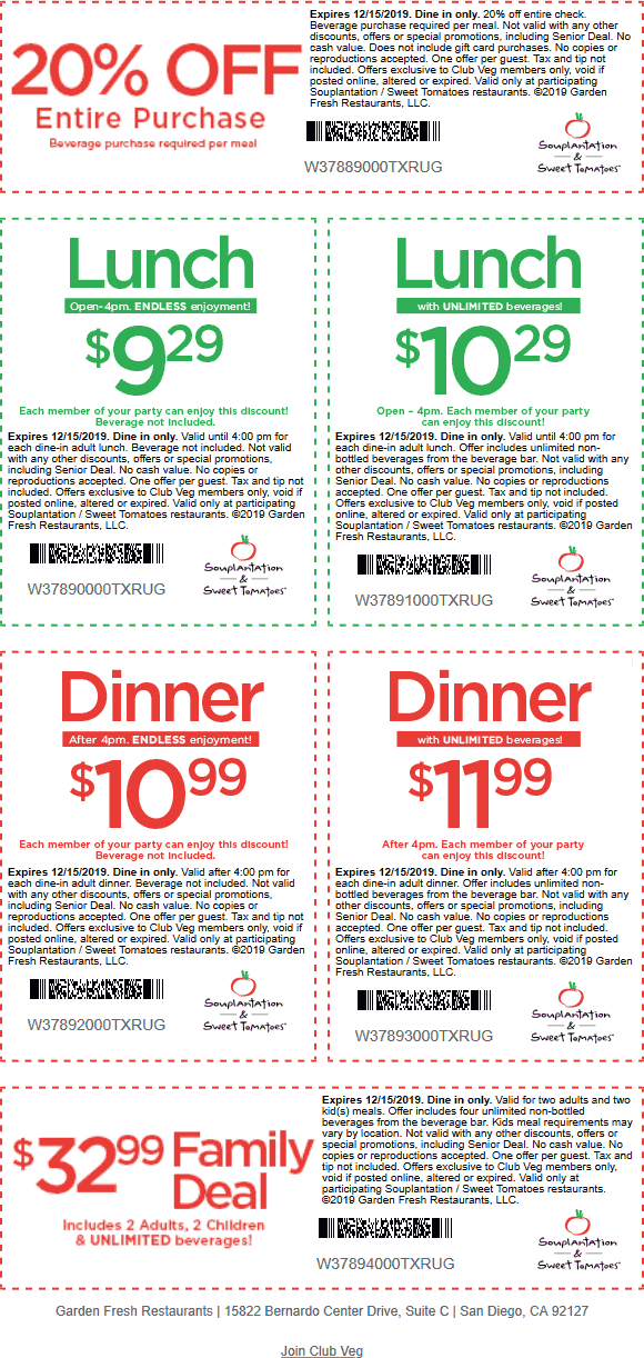 Sweet Tomatoes Coupon January 2020 20% off meals & more at Souplantation & Sweet Tomatoes restaurants
