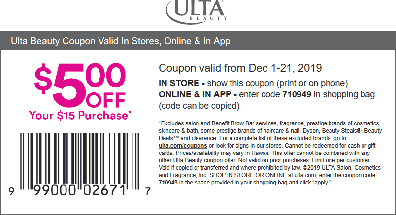 Ulta Coupon January 2020 $5 off $15 at Ulta Beauty, or online via promo code 710949
