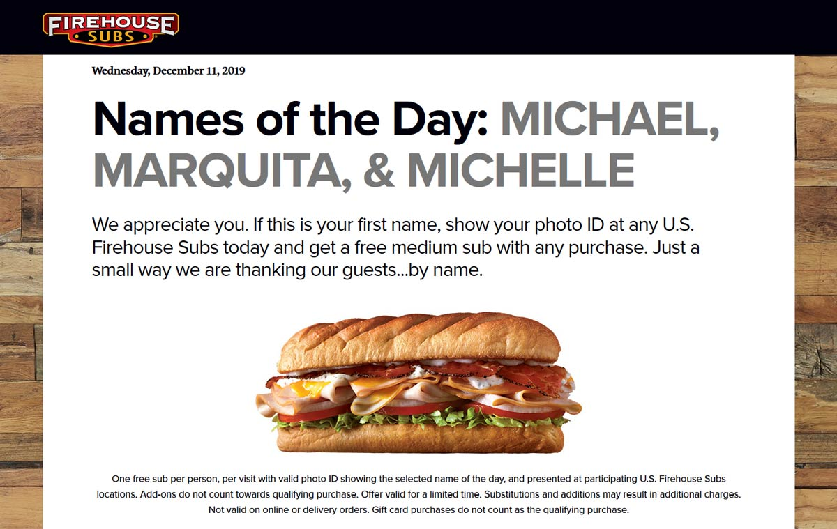 Firehouse Subs Coupon January 2020 Another day of new names for free sandwich at Firehouse Subs