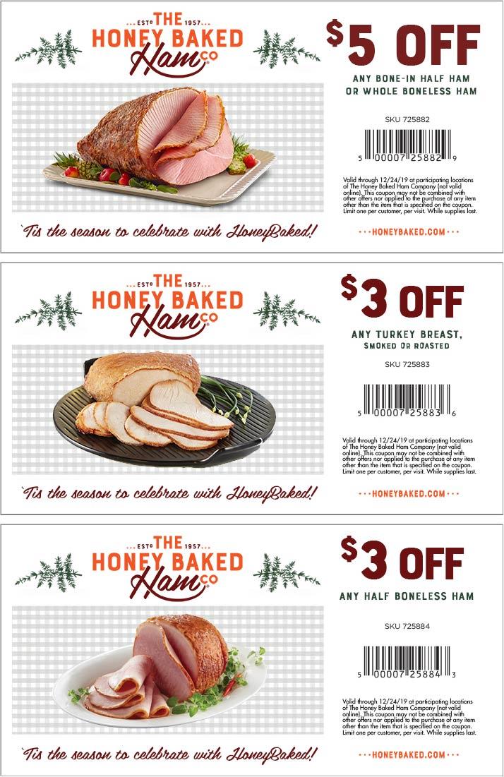 HoneyBaked Coupon January 2020 $3-$5 off at Honeybaked Ham restaurants