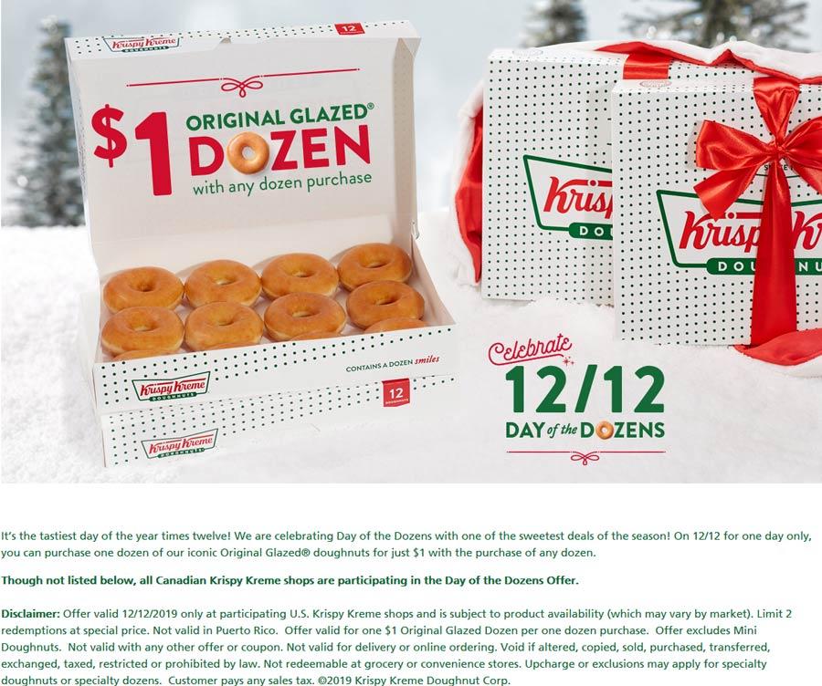 Krispy Kreme Coupon January 2020 Second dozen doughnuts for $1 Thursday at Krispy Kreme