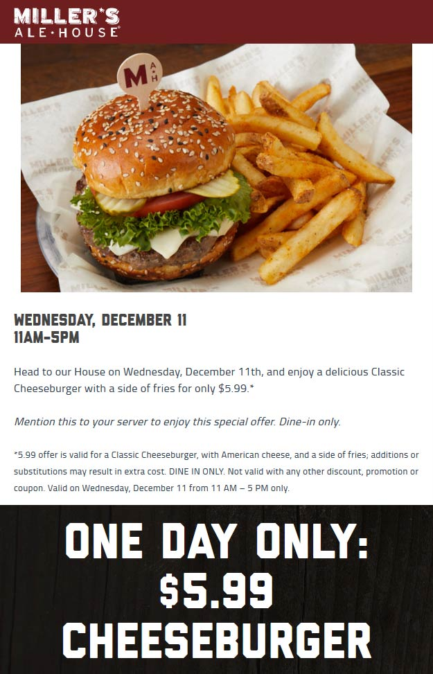 Millers Ale House Coupon January 2020 $6 cheeseburger + fries today at Millers Ale House