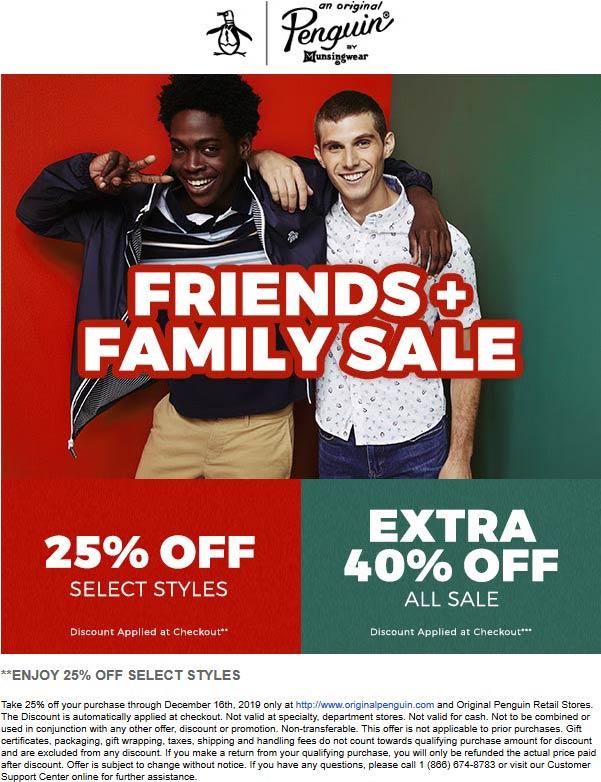 Original Penguin Coupon January 2020 25% off regular & 40% off sale items at Original Penguin, ditto online