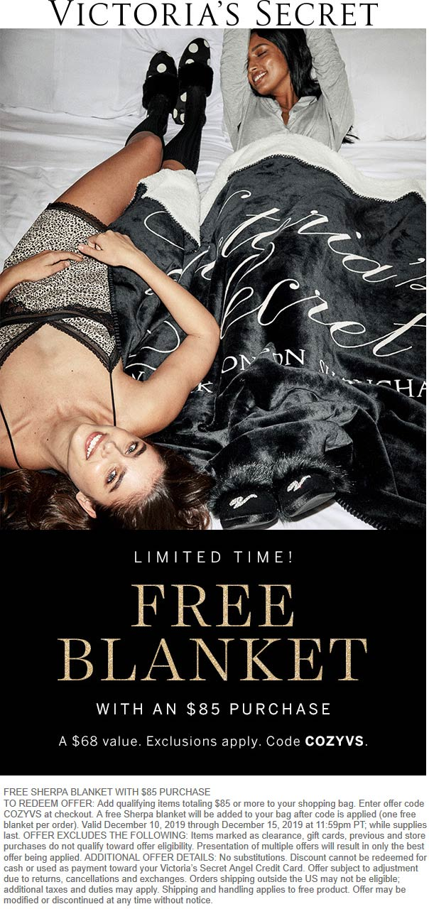 Victorias Secret Coupon January 2020 Free sherpa blanket with $85 spent at Victorias Secret via promo code COZYVS