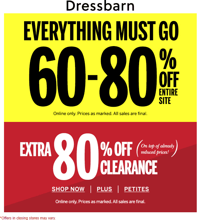 Dressbarn Coupon January 2020 60-80% off everything online at Dressbarn