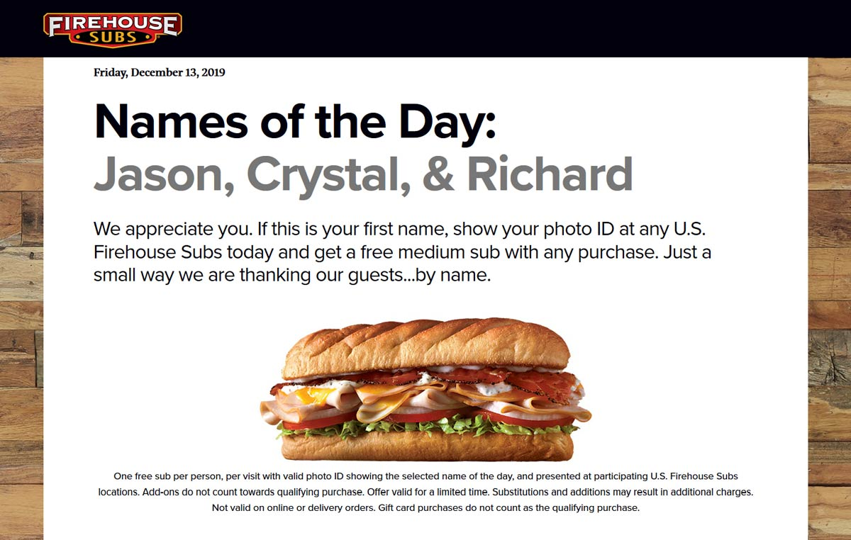 Firehouse Subs Coupon January 2020 Free sub sandwich for Jason Crystal, & Richard today at Firehouse Subs