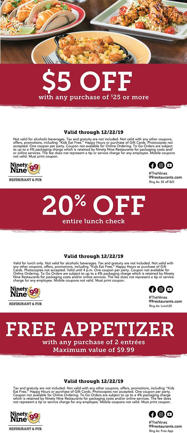 Ninety Nine Coupon January 2020 Free appetizer & more at Ninety Nine restaurants
