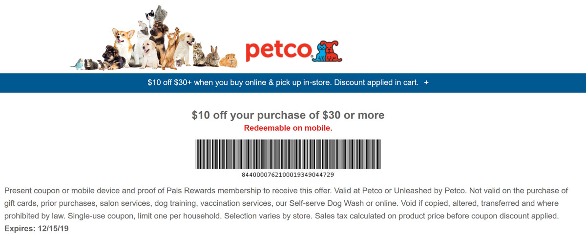 Petco Coupon January 2020 $10 off $30 via in-store pickup at Petco