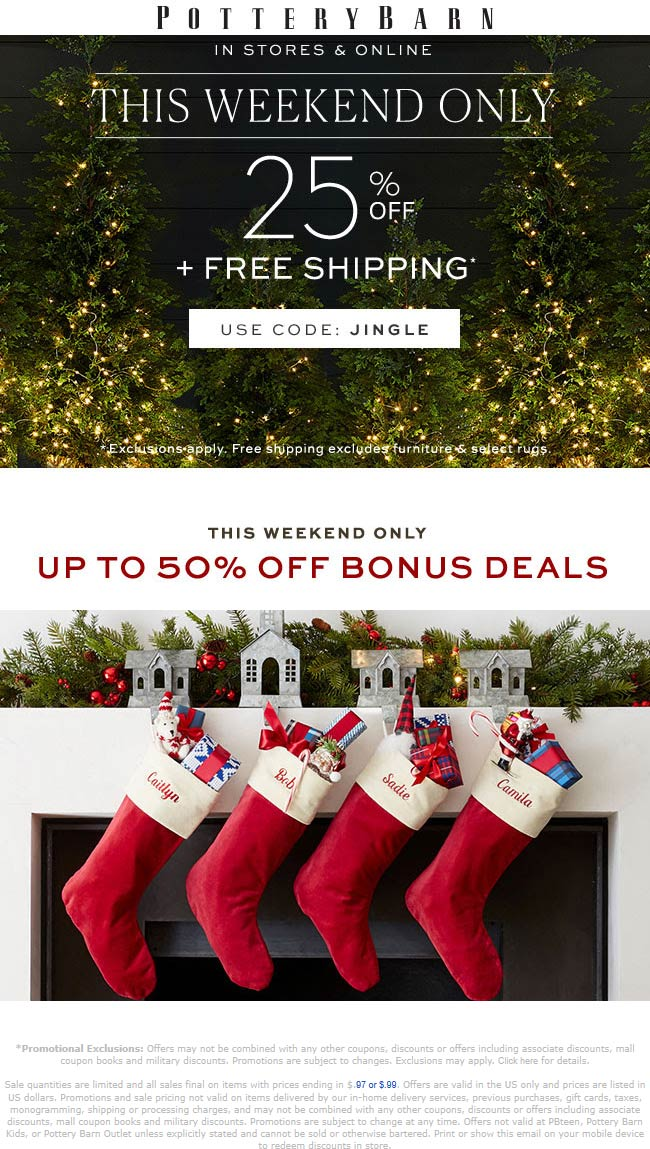 Pottery Barn Coupon January 2020 25% off at Pottery Barn, or online via promo code JINGLE
