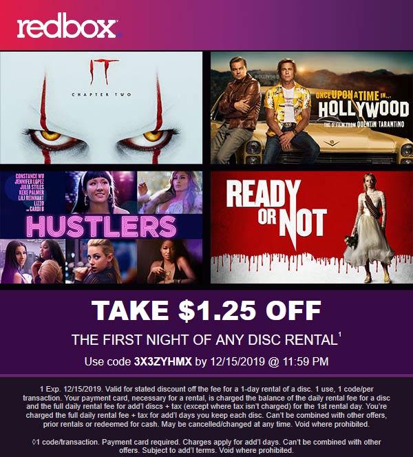 Redbox Coupon January 2020 $1.25 off any rental at Redbox via promo code 3X3ZYHMX