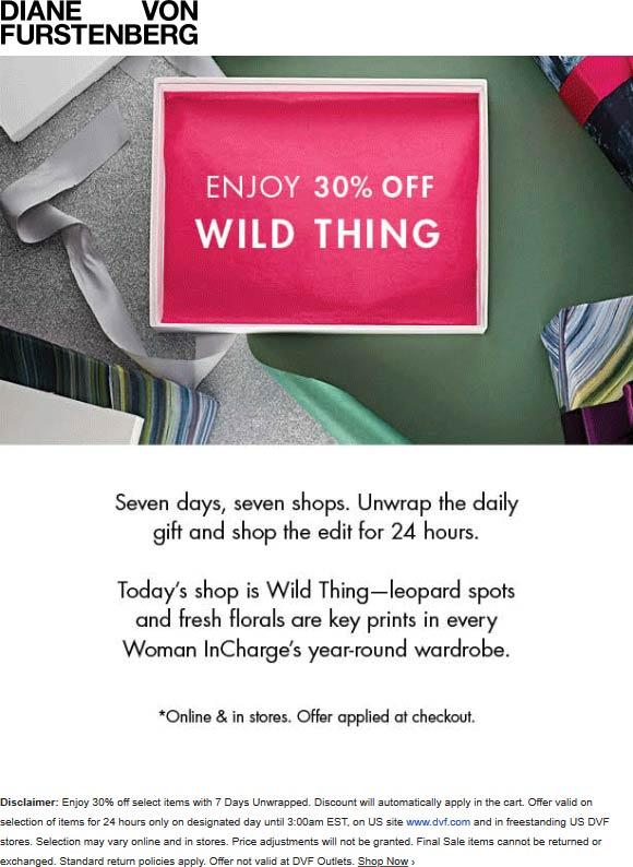Diane von Furstenberg Coupon January 2020 30% off prints today at Diane von Furstenberg, ditto online
