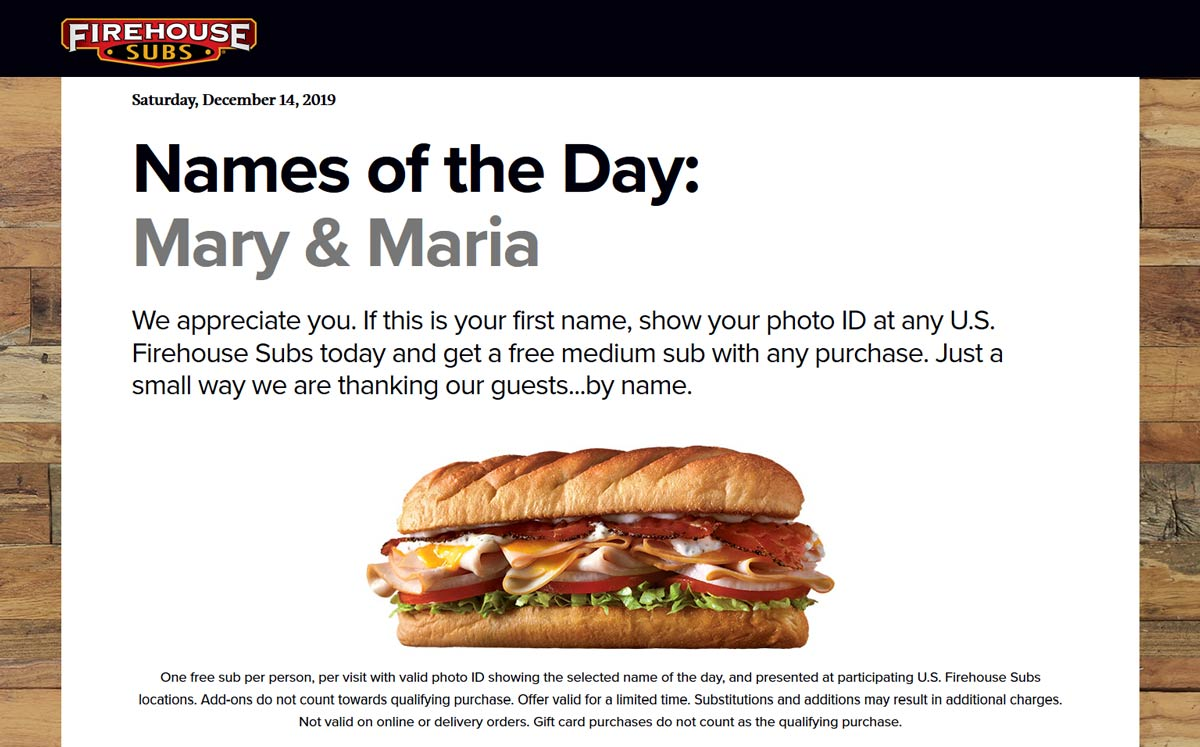 Firehouse Subs Coupon January 2020 Mary & Maria enjoy free sub sandwiches today at Firehouse Subs