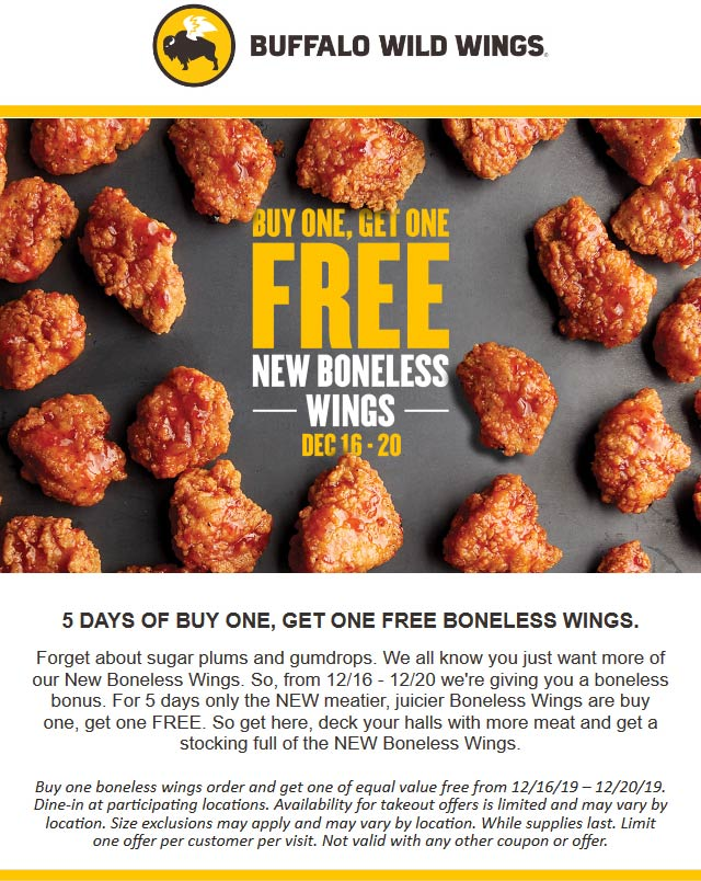 Buffalo Wild Wings Coupon January 2020 Second boneless wings free at Buffalo Wild Wings restaurants