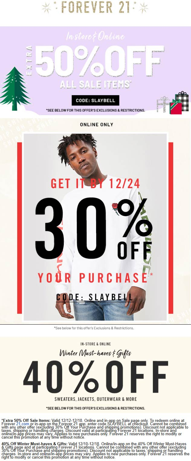Forever 21 Coupon January 2020 40% off winter & more at Forever 21, ditto online