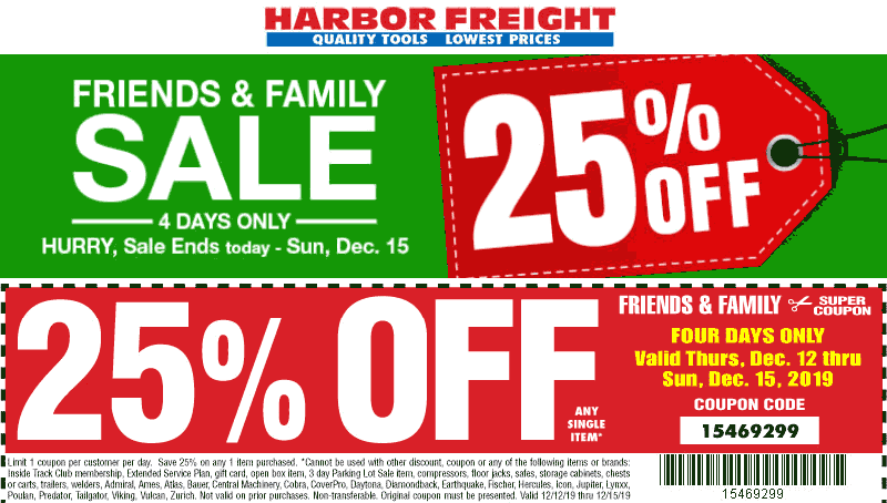 Harbor Freight Coupon January 2020 25% off a single item today at Harbor Freight Tools, or online via promo code 15469299