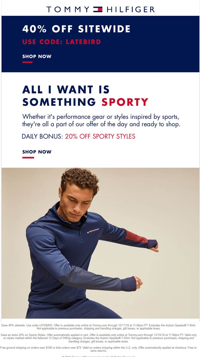 Tommy Hilfiger Coupon January 2020 40% off everything online today at Tommy Hilfiger via promo code LATEBIRD