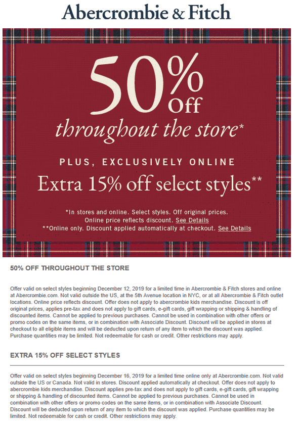 Abercrombie & Fitch Coupon January 2020 50% off at Abercrombie & Fitch, ditto online