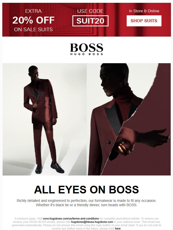 BOSS Coupon January 2020 20% off sale suits at BOSS, or online via promo code SUIT20