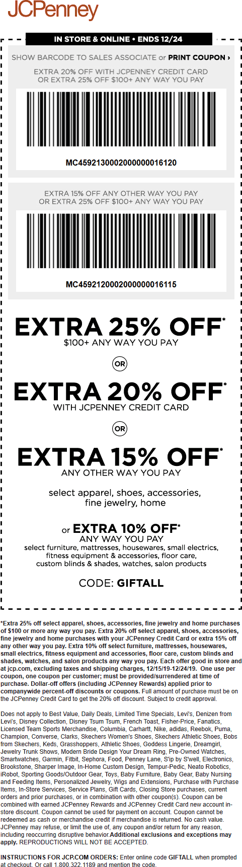 JCPenney Coupon January 2020 15-25% off at JCPenney, or online via promo code GIFTALL