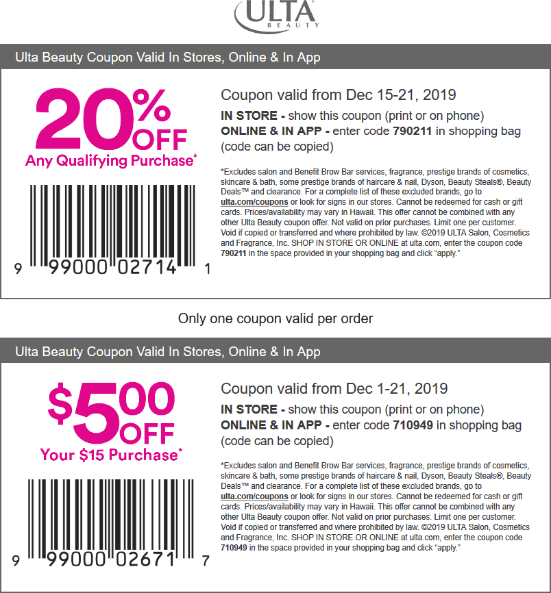 Ulta Coupon January 2020 20% off at Ulta Beauty, or online via promo code 790211
