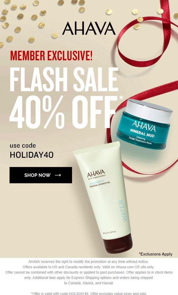 AHAVA Coupon January 2020 40% off online at AHAVA via promo code HOLIDAY40