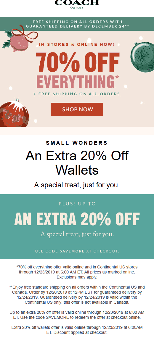 Coach Outlet Coupon January 2020 70% off everything & more at Coach Outlet, ditto online