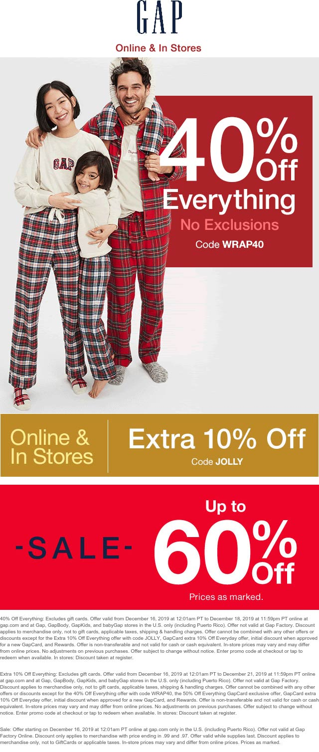 Gap Coupon January 2020 50% off everything at Gap, or online via promo code WRAP40