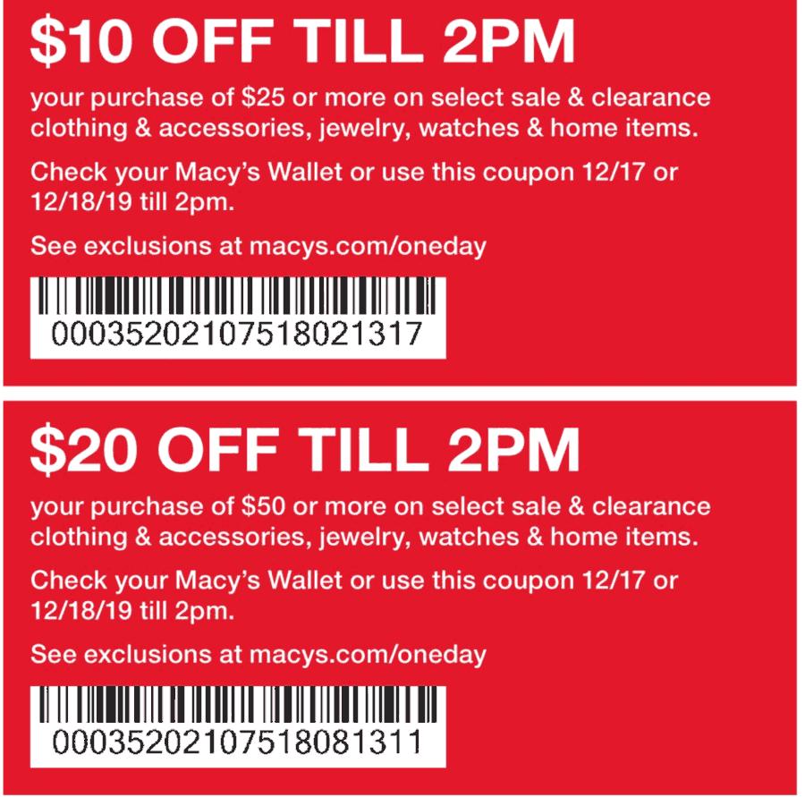 Macys Coupon January 2020 $10 off $25 & more til 2p today at Macys