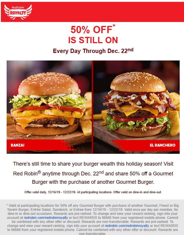 Red Robin Coupon January 2020 Second cheeseburger 50% off at Red Robin