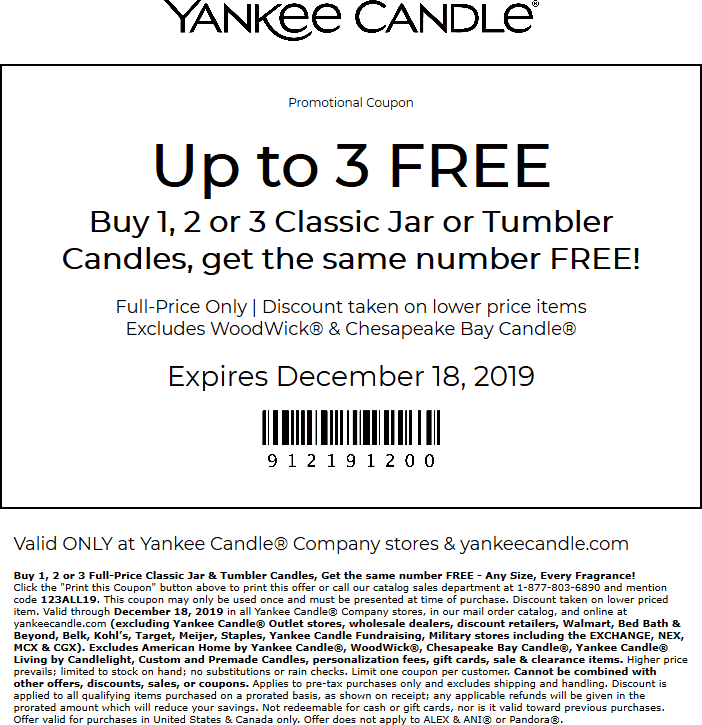 Yankee Candle Coupon January 2020 Second candle free today at Yankee Candle, or online via promo code 123ALL19