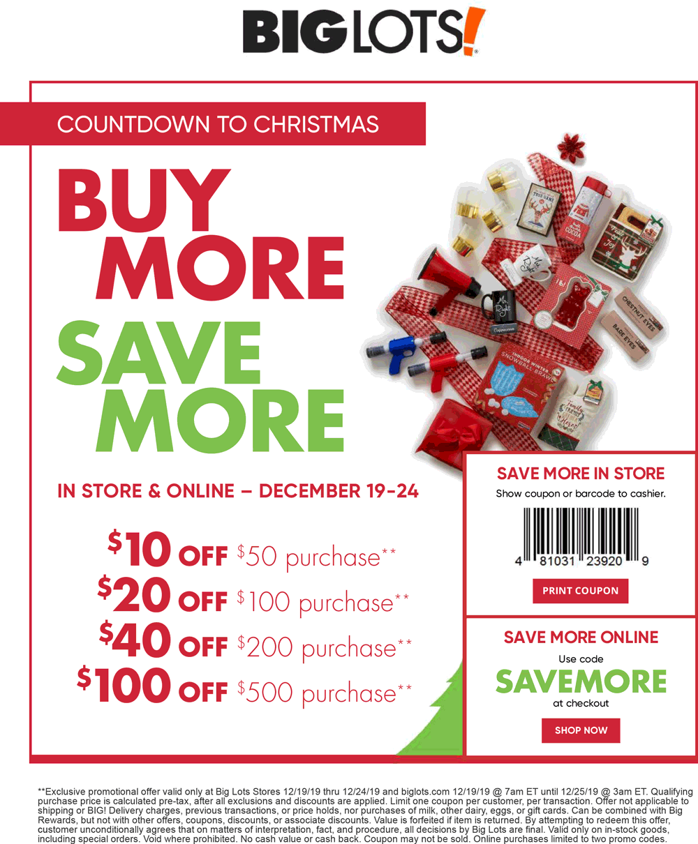 Big Lots Coupon January 2020 $10 off $50 & more at Big Lots, or online via promo code SAVEMORE