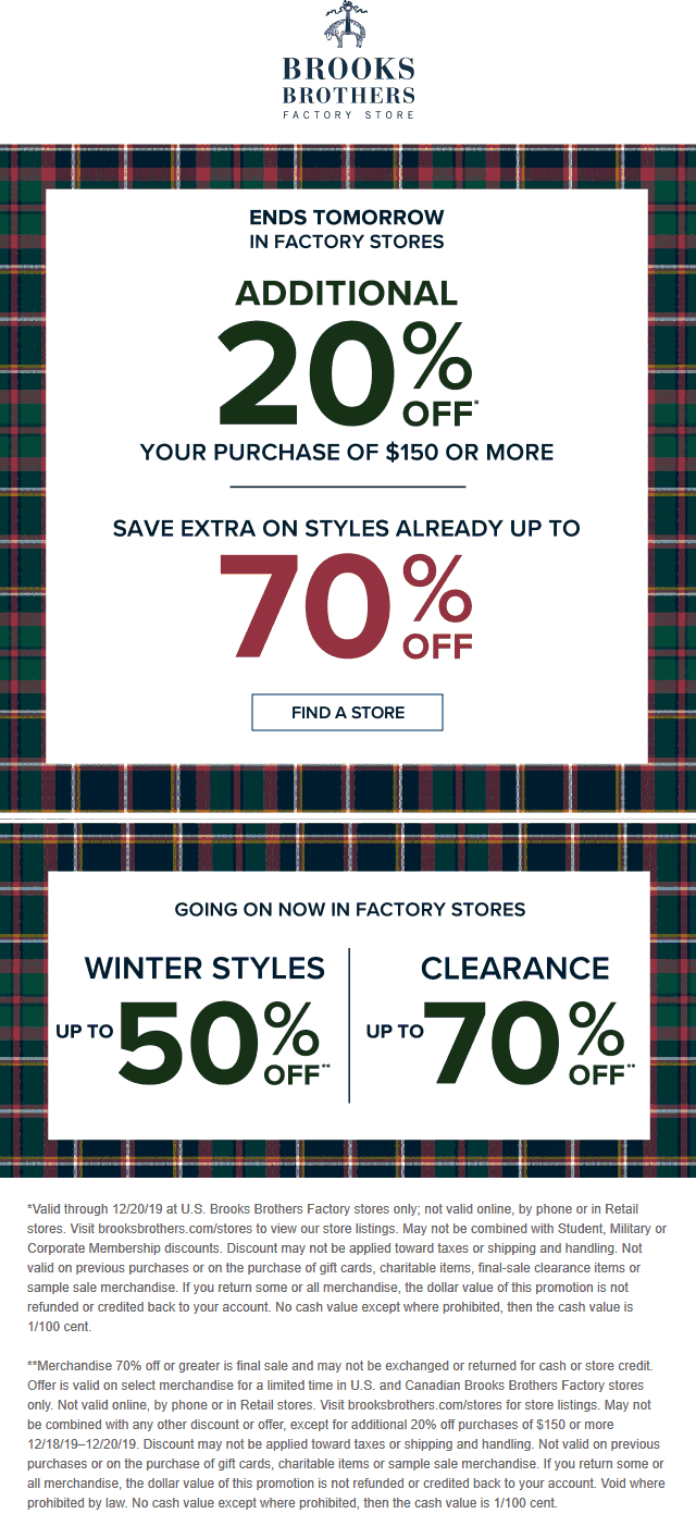 Brooks Brothers Coupon January 2020 Extra 20% off $150 at Brooks Brothers Factory locations