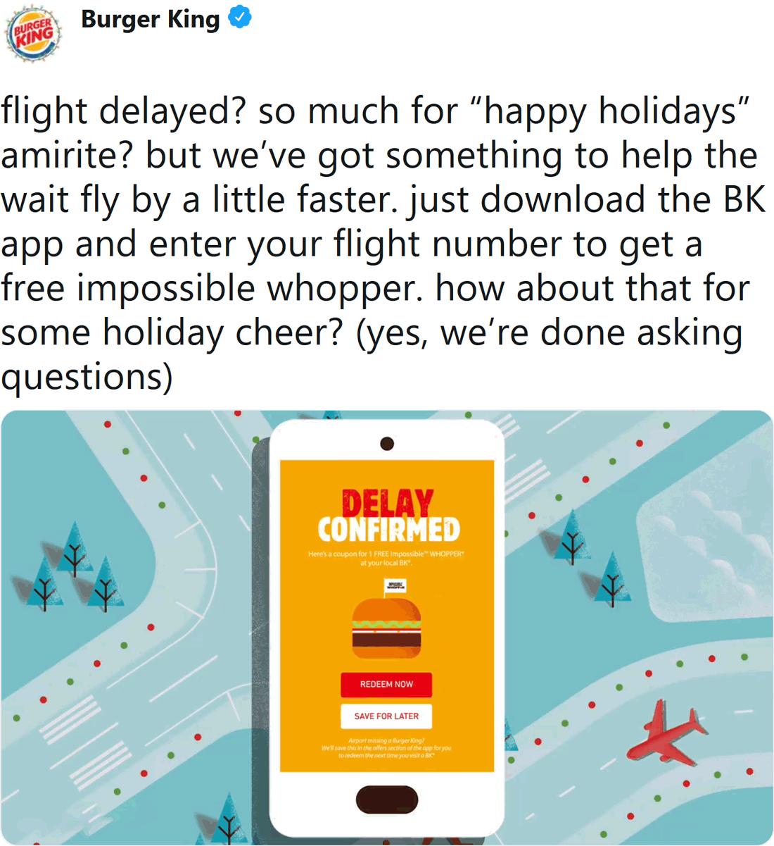 Burger King Coupon January 2020 Delayed flights = free whopper at Burger King
