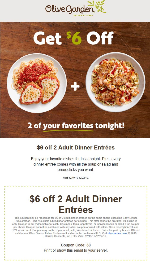 Olive Garden Coupon January 2020 $6 off a couple dinner entrees at Olive Garden