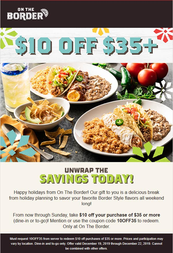 On The Border Coupon January 2020 $10 off $35 at On The Border restaurants