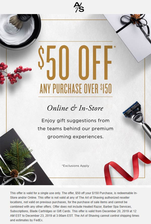 The Art of Shaving Coupon January 2020 $50 off $150 at The Art of Shaving, ditto online