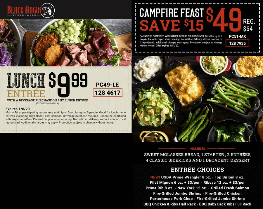Black Angus Coupon January 2020 $10 lunch & more at Black Angus steakhouse
