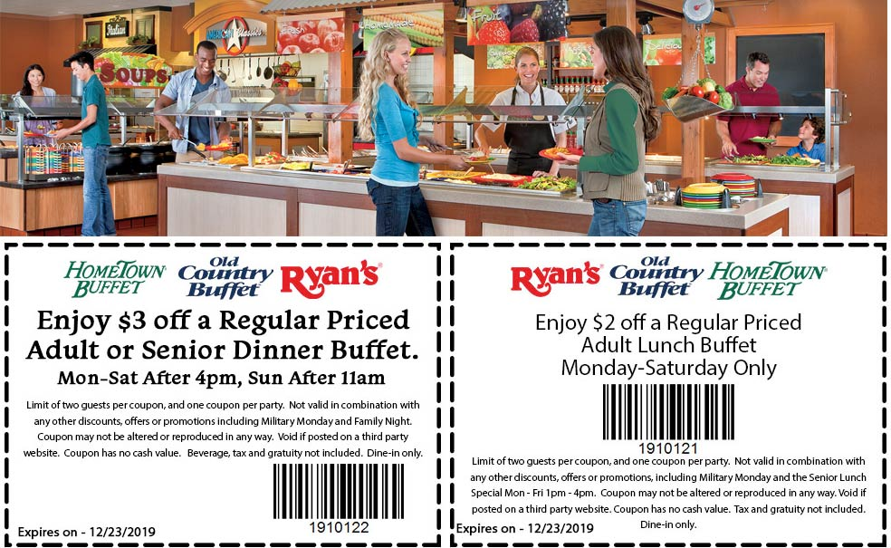 Hometown Buffet Coupon January 2020 $2-$3 off a meal at Ryans, HomeTown Buffet & Old Country Buffet