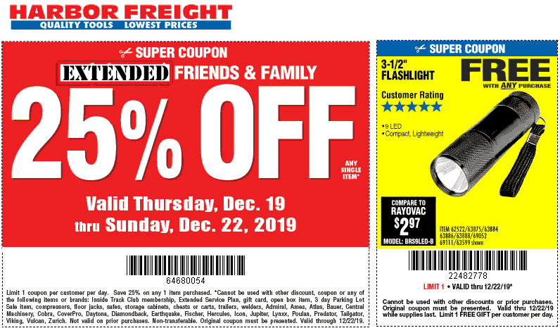 Harbor Freight Coupon January 2020 25% off a single item at Harbor Freight Tools, or online via promo code 80848284