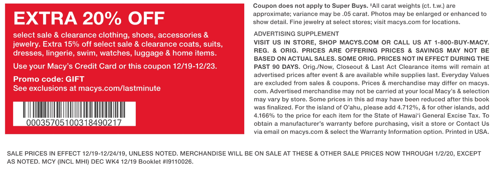 Macys Coupon January 2020 Extra 20% off at Macys, or online via promo code GIFT