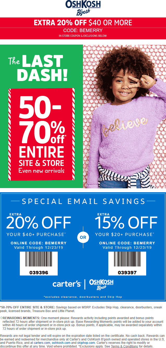 Carters Coupon January 2020 50-70% off everything at Carters & OshKosh Bgosh, or online via promo code BEMERRY
