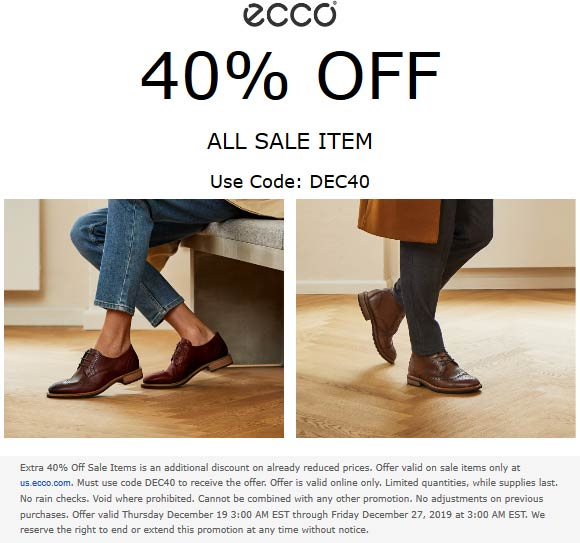 ECCO Coupon January 2020 Extra 40% off sale items online at ECCO via promo code DEC40