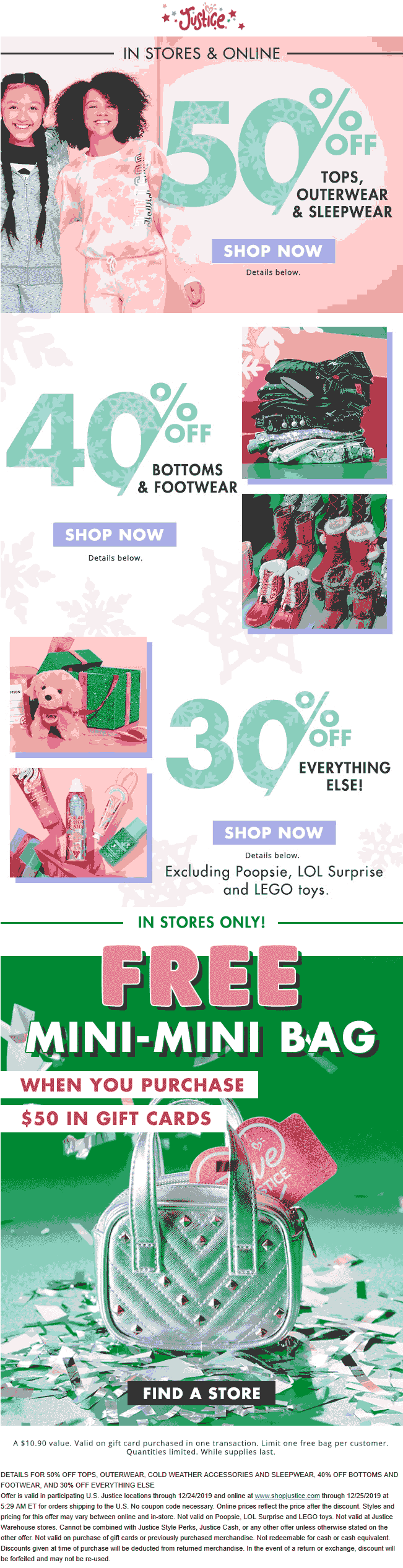 Justice Coupon January 2020 30% off everything & more at Justice, ditto online