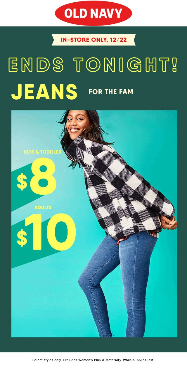 Old Navy Coupon January 2020 All jeans $8-$10 today at Old Navy