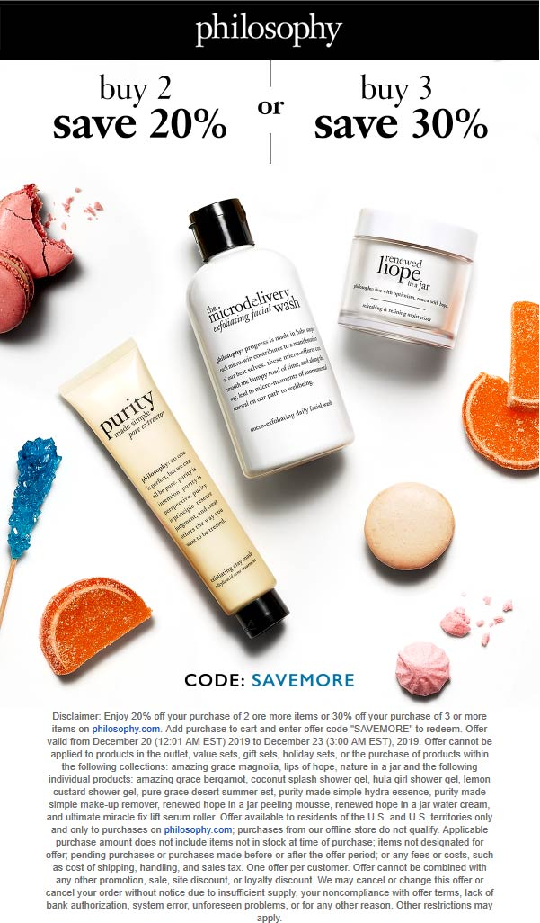 Philosophy Coupon January 2020 20-30% off 2+ items online today at Philosophy via promo code SAVEMORE