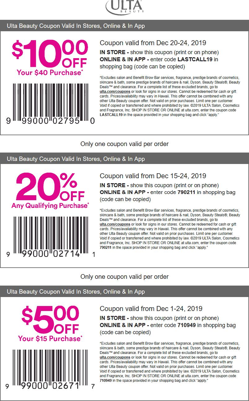 Ulta Beauty Coupon January 2020 $10 off $40 at Ulta Beauty, or online via promo code LASTCALL19
