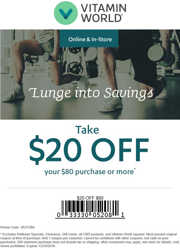 Vitamin World Coupon January 2020 $20 off $80 at Vitamin World, or online via promo code VE012B6