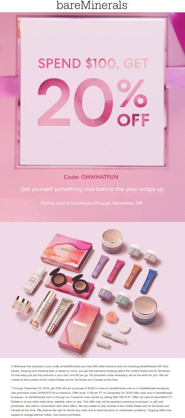 bareMinerals Coupon January 2020 20% off $100 at bareMinerals, or online via promo code OHWHATFUN
